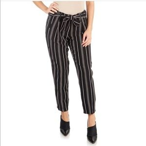 Like An Angel Black Striped Tie-Waist Pants